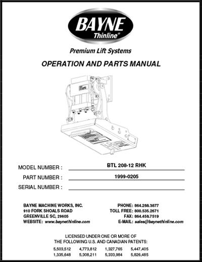 BLT 208 12 RHK Series Cart Lifter Manual