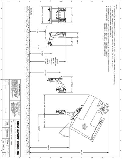 BTL 208 Series Cart Lifter Spec Sheet