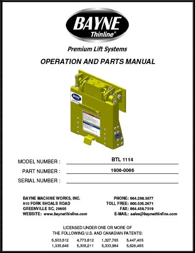 BTL Series 1900-0006 BTL 1114 Manual