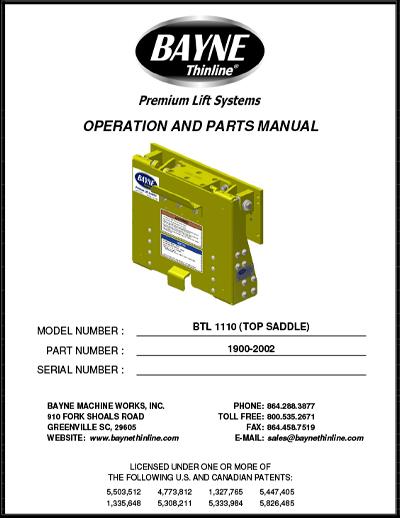 BTL Series 1900-2002 BTL 1110 TS Manual