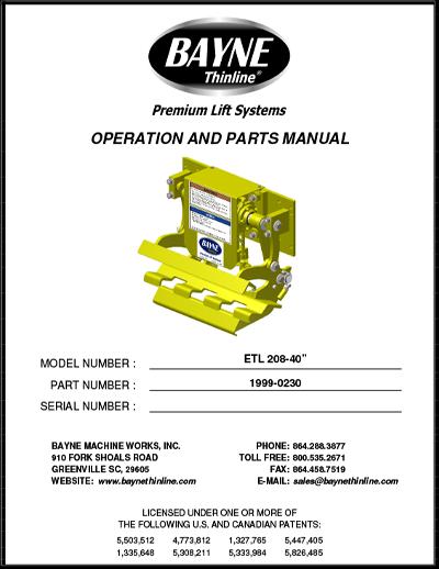 ETL 208 40 Series Cart Tipper Manual