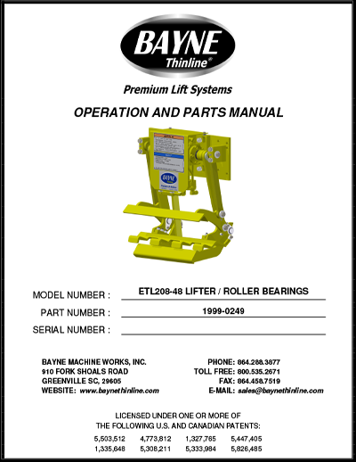 ETL 208 48 Roller Bearings Series Cart Tipper Manual