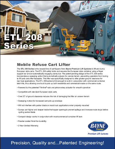 ETL 208 48 Garbage Truck Cart Tipper Brochure