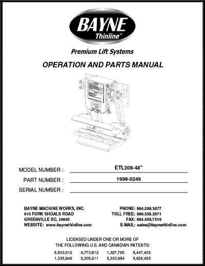 ETL 208 48 Series Cart Tipper Manual