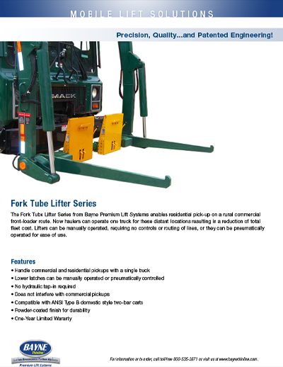 Fork Tube Front Load Cart Tipper Brochure