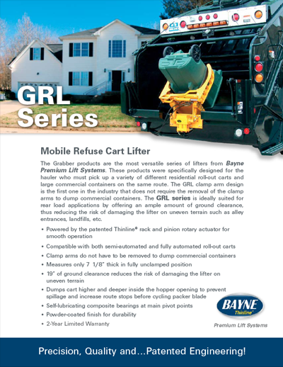 GRL 1110 Series Garbage Truck Cart Lifter Brochure