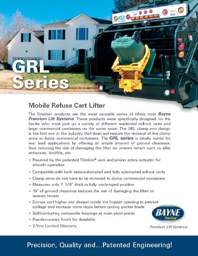 GRL 1115 Garbage Truck Cart Lifter Brochure
