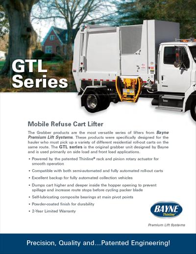 Bayne GTL 1114 Side Load Garbage Truck Lifter Brochure