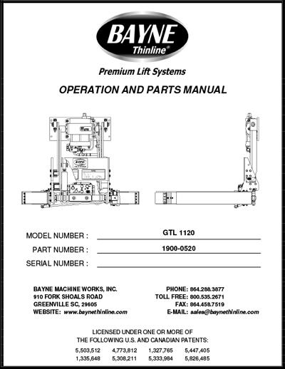 Bayne GTL 1120 Cart Tipper Lifter Manual