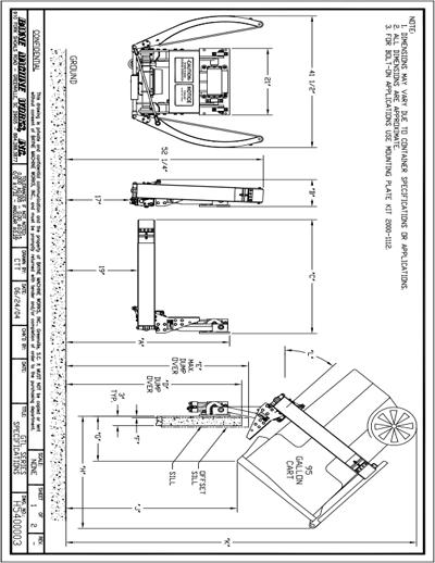 Bayne GTL 1120 Garbage Truck Cart Lift Spec Sheet