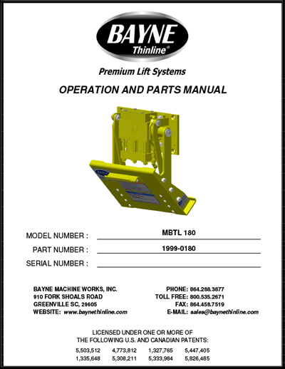 Bayne MBTL 180 Series Cart Lifter Manual