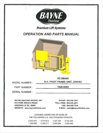 Swing-A-Way Lifter 1920-0094 SM480 RH PIVOT FRAME Manual