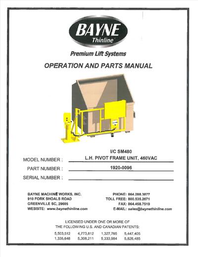 Swing-A-Way Lifter 1920-0096 Parts Manual