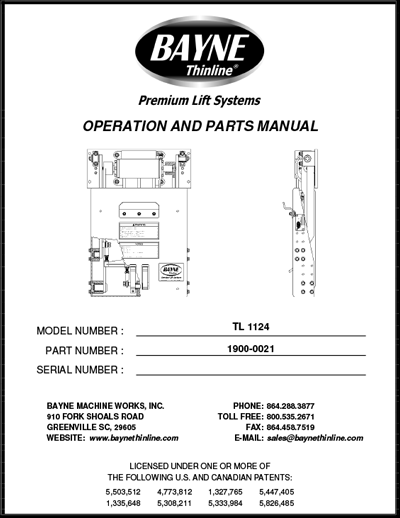 TL 1124 Series Garbage Can Lifter Manual