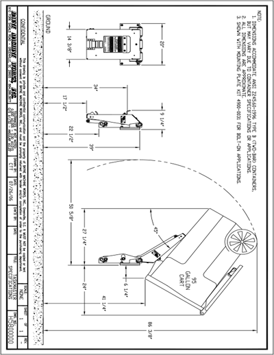Bayne Taskmaster Cart Lifter Spec Sheet