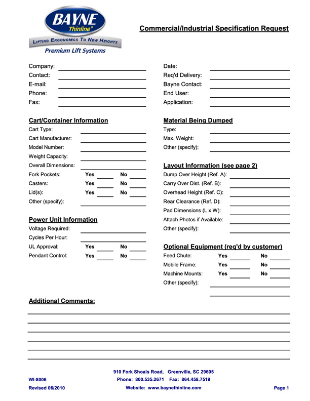 Bayne Commercial Lifter Info Request Form
