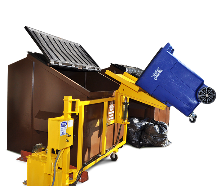 SWING A WAY Stationary Dumpster Container Lifter