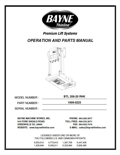 Bayne BTL-208-RHK-20 Garbage Truck Lifter Manual