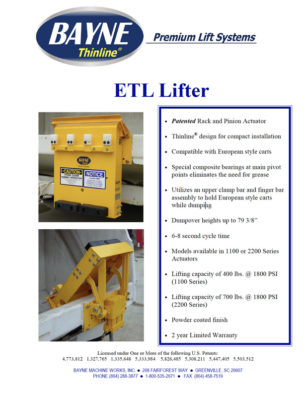 ETL Garbage Truck Cart Tipper - Lifter Brochure